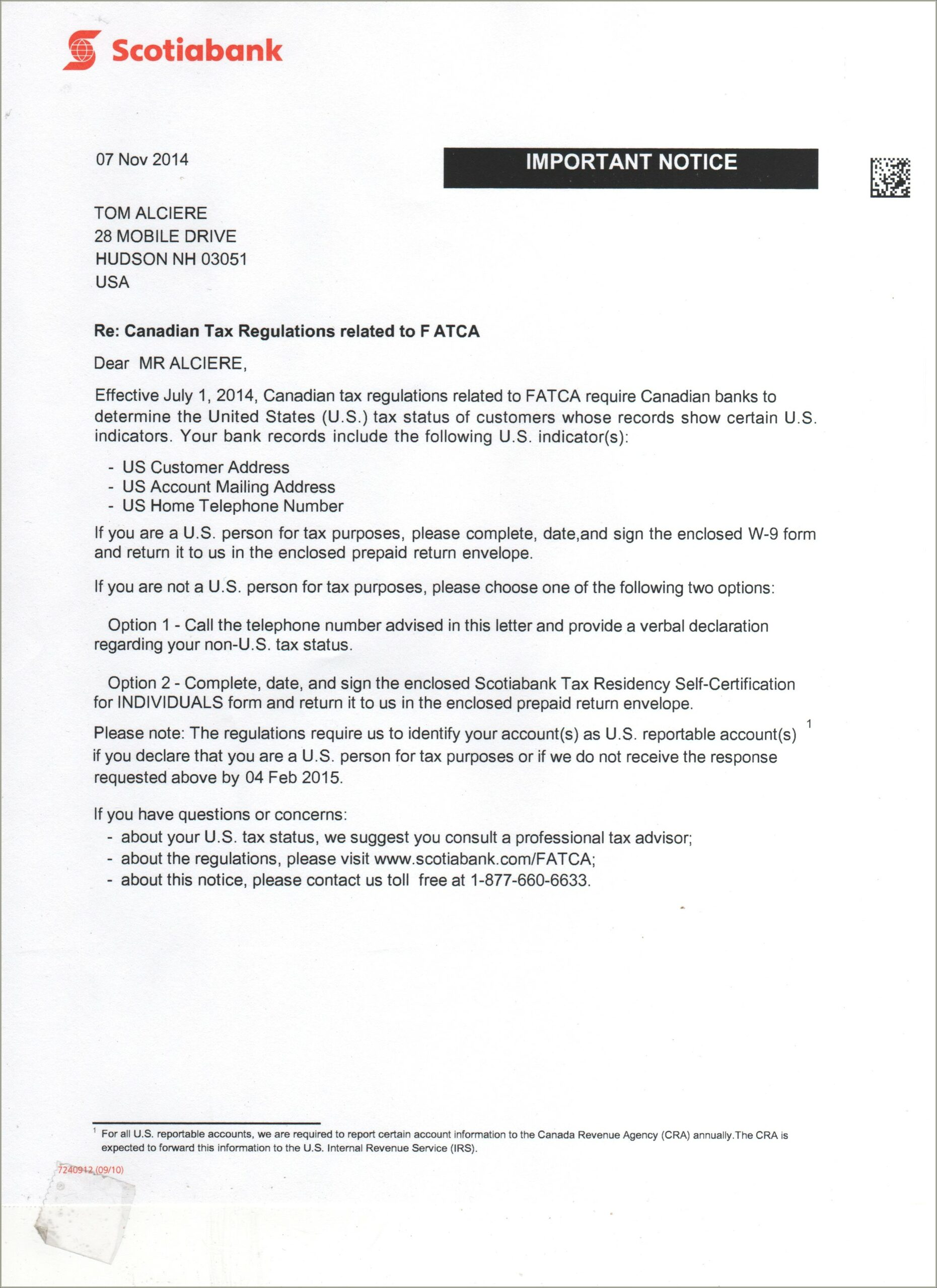 Fatca Letter From Bank