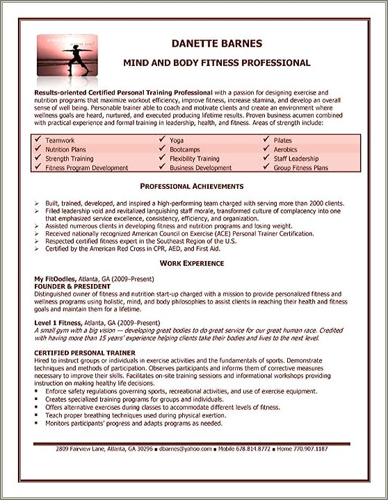 Fitness Instructor Cover Letter No Experience