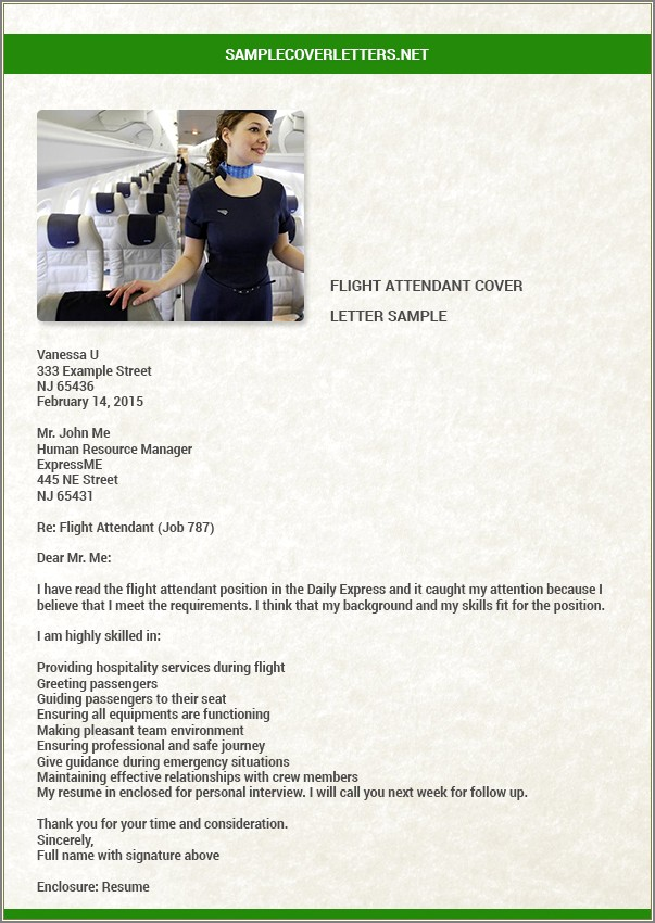 Flight Attendant Recommendation Letter