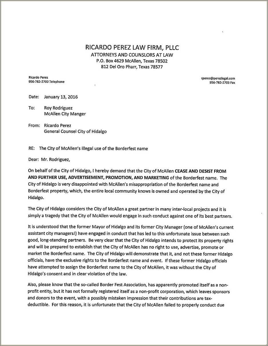 Hoa Cease And Desist Letter Template