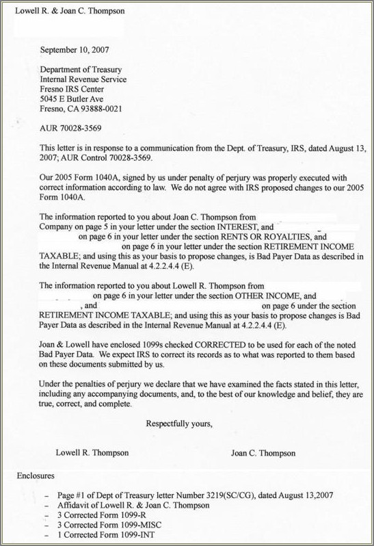 Irs Audit Reconsideration Letter Sample
