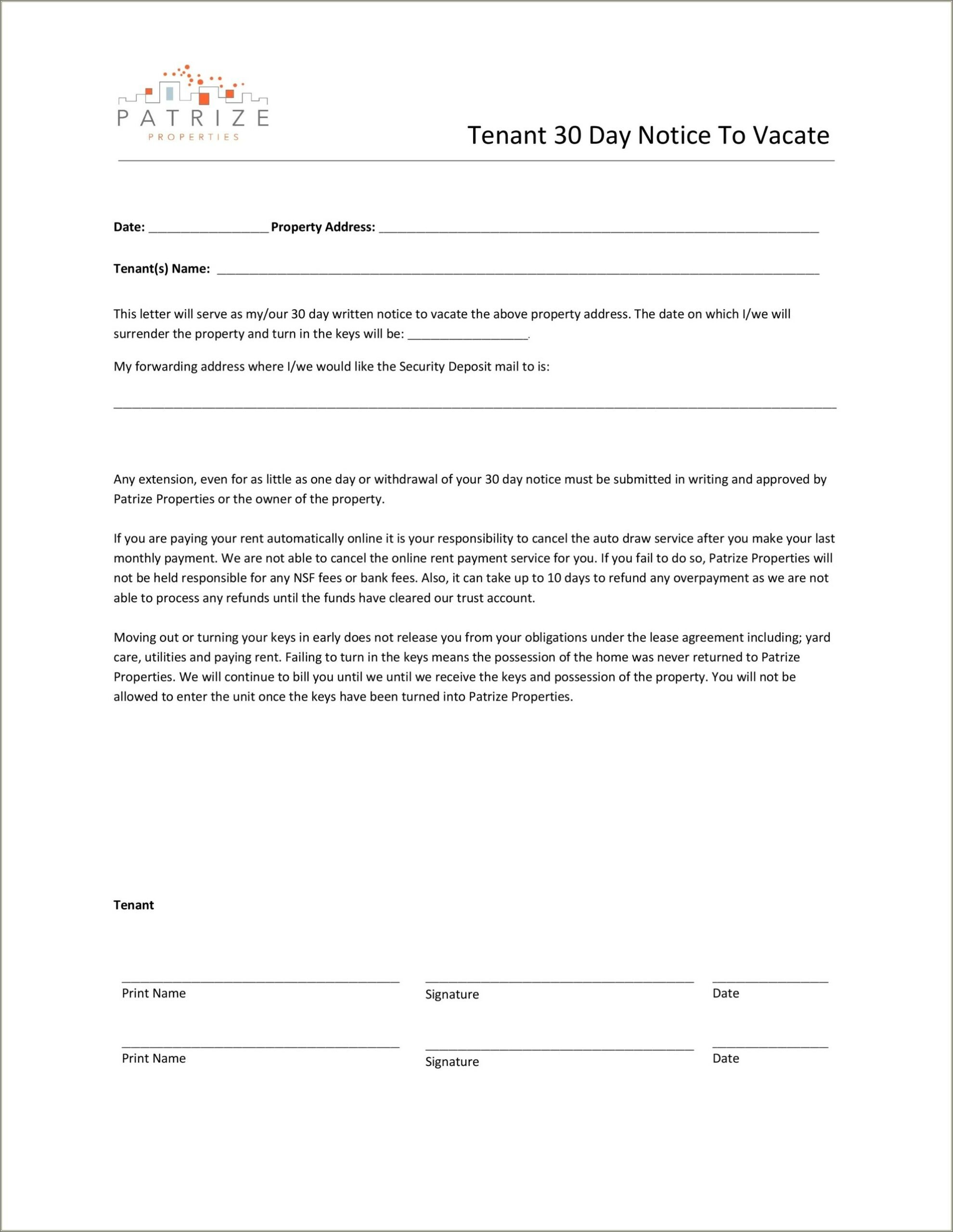 Landlord Notice To Vacate Letter