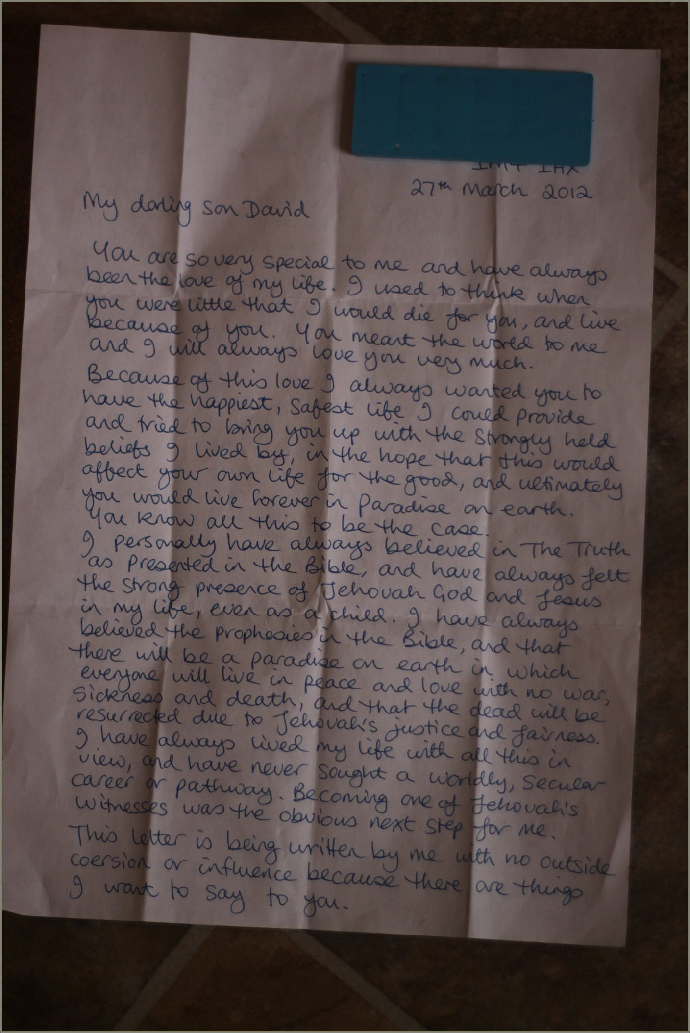 Letter From Jehovahs Witness