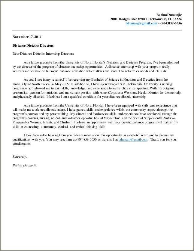 Letter Of Intent For Esthetician School