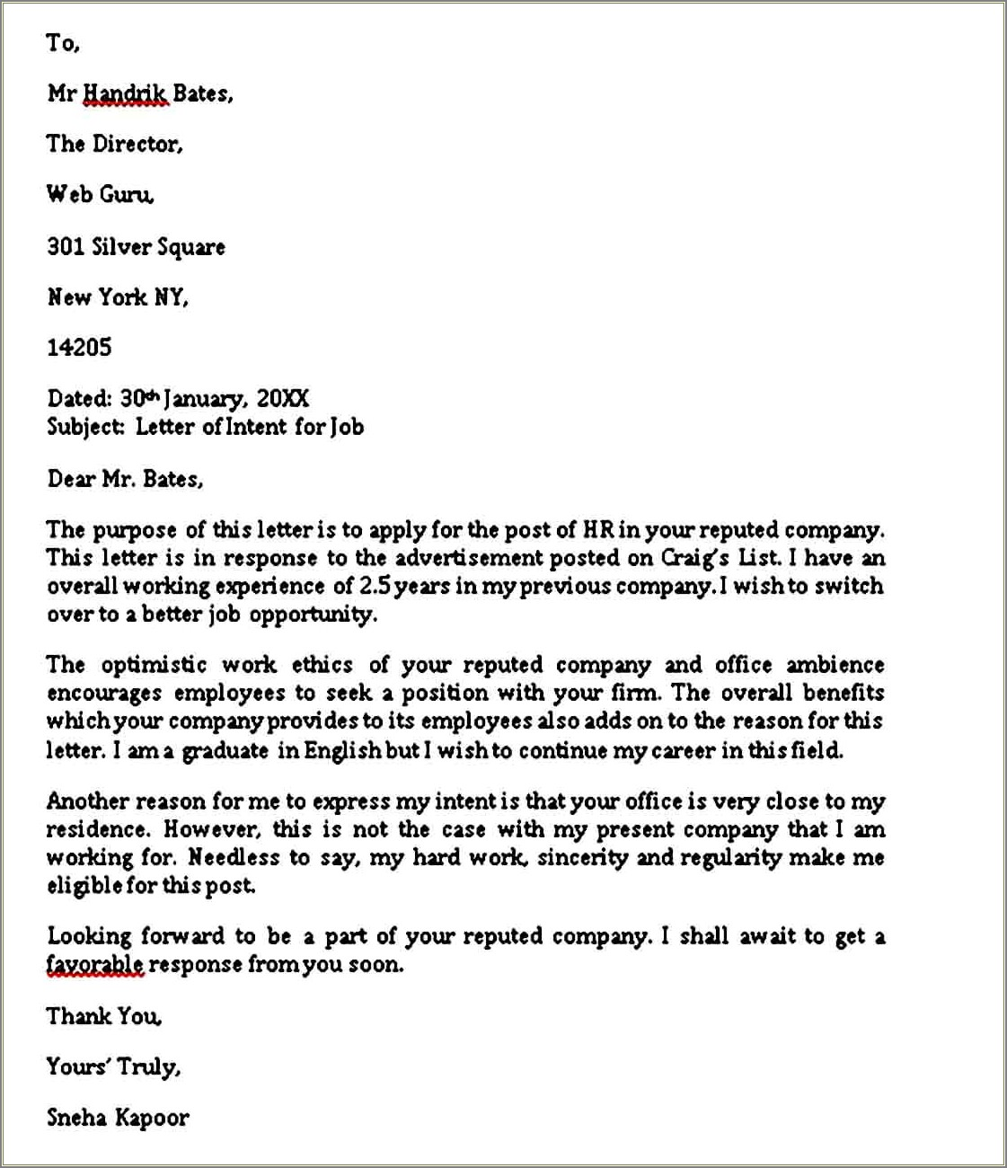 Letter Of Intent To Sue Employer