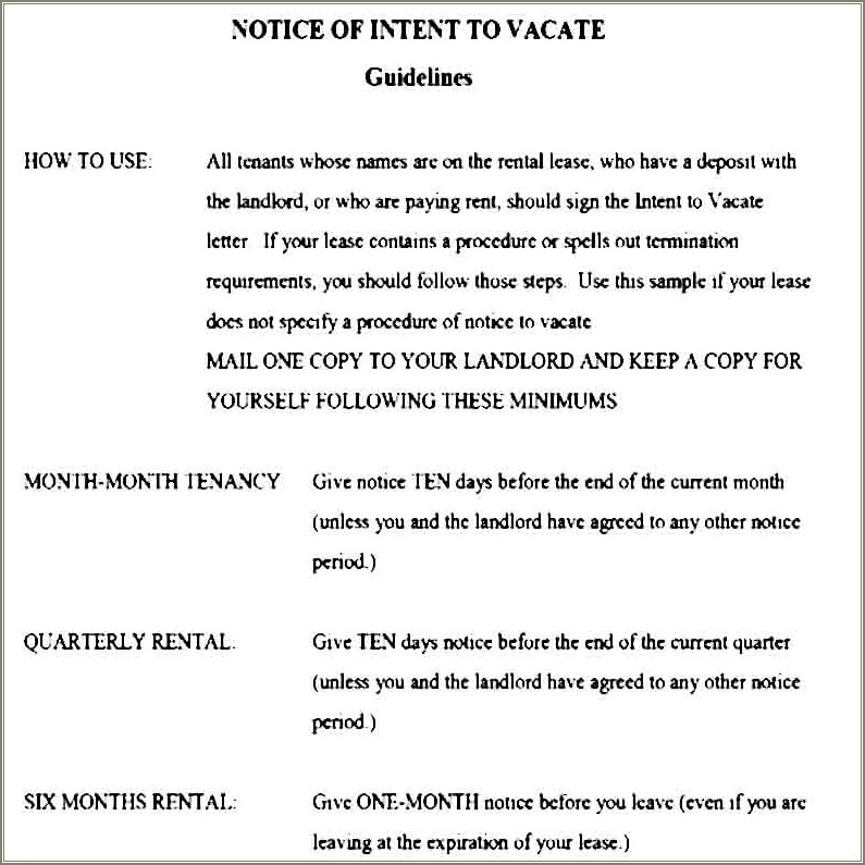 Letter Of Intent To Vacate Template
