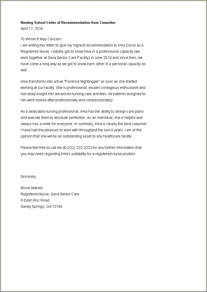 Letter Of Recommendation Template For Coworker