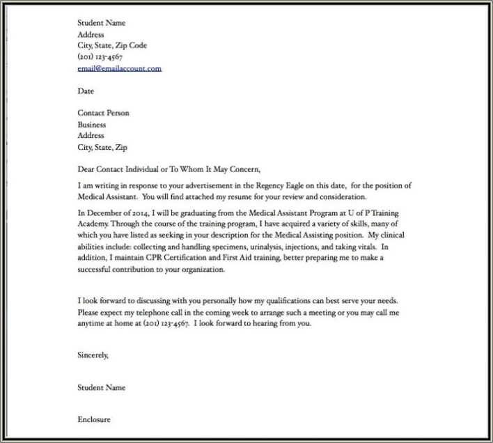 Medical Billing Cover Letter No Experience