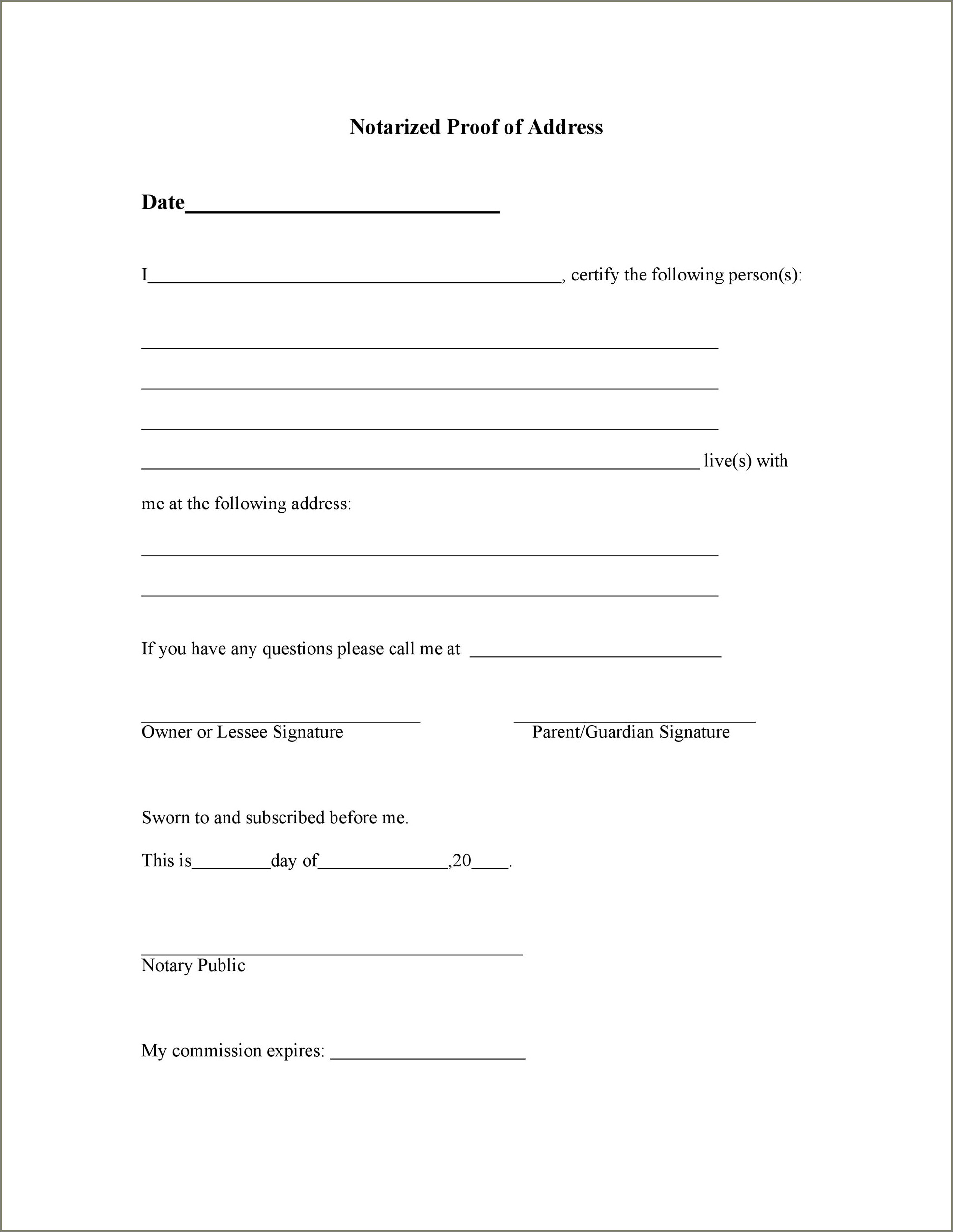 Notarized Letter Of Residency Template