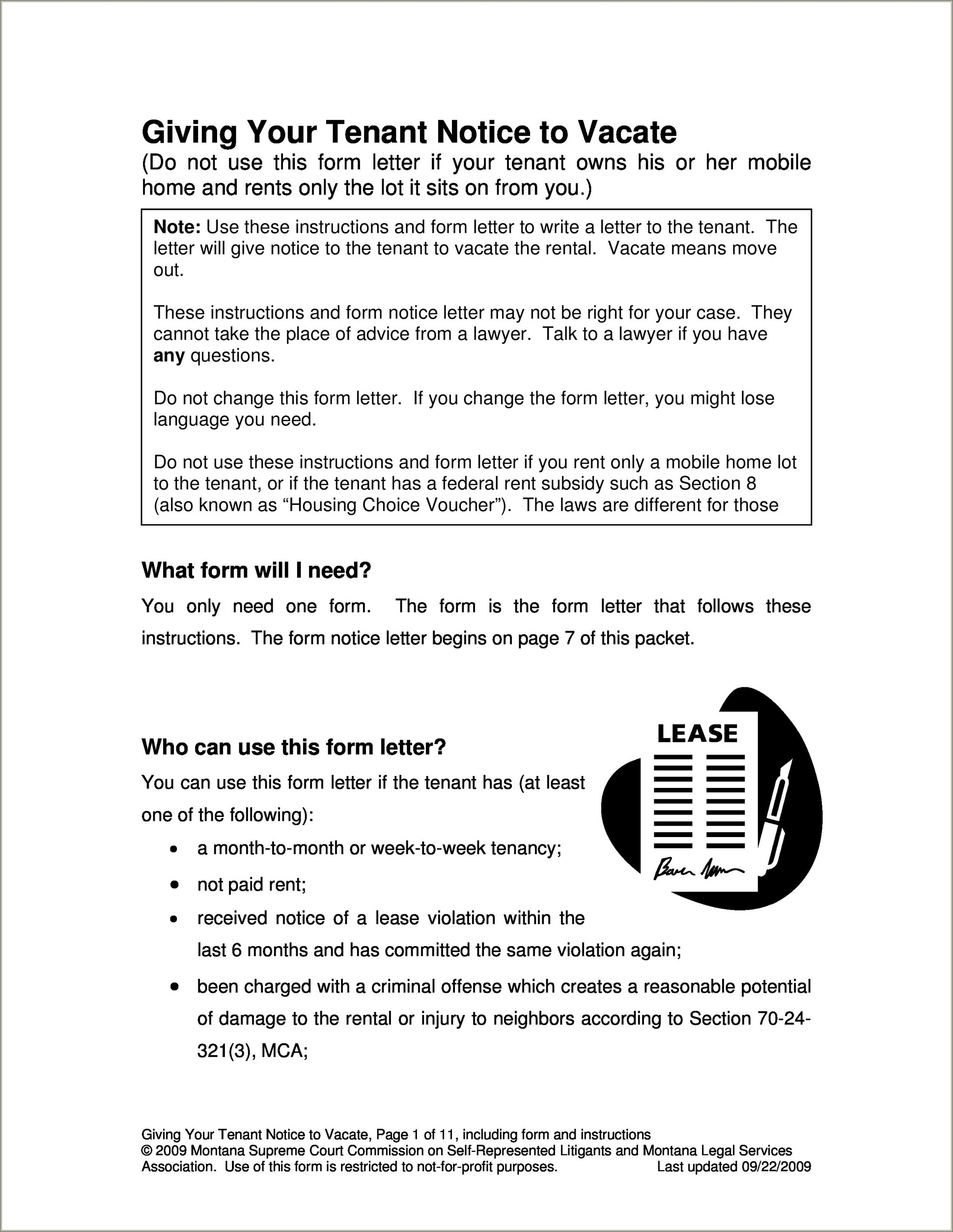 Notice To Vacate Letter To Tenant