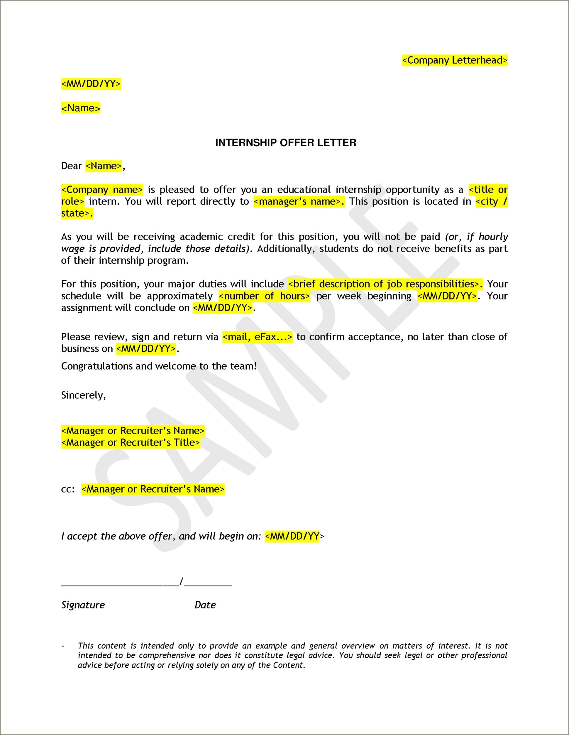 Opt Offer Letter Template