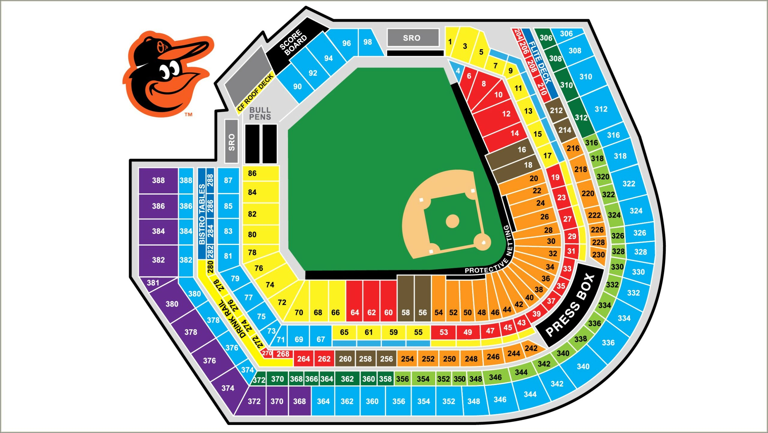 Oriole Park At Camden Yards Seating Diagram