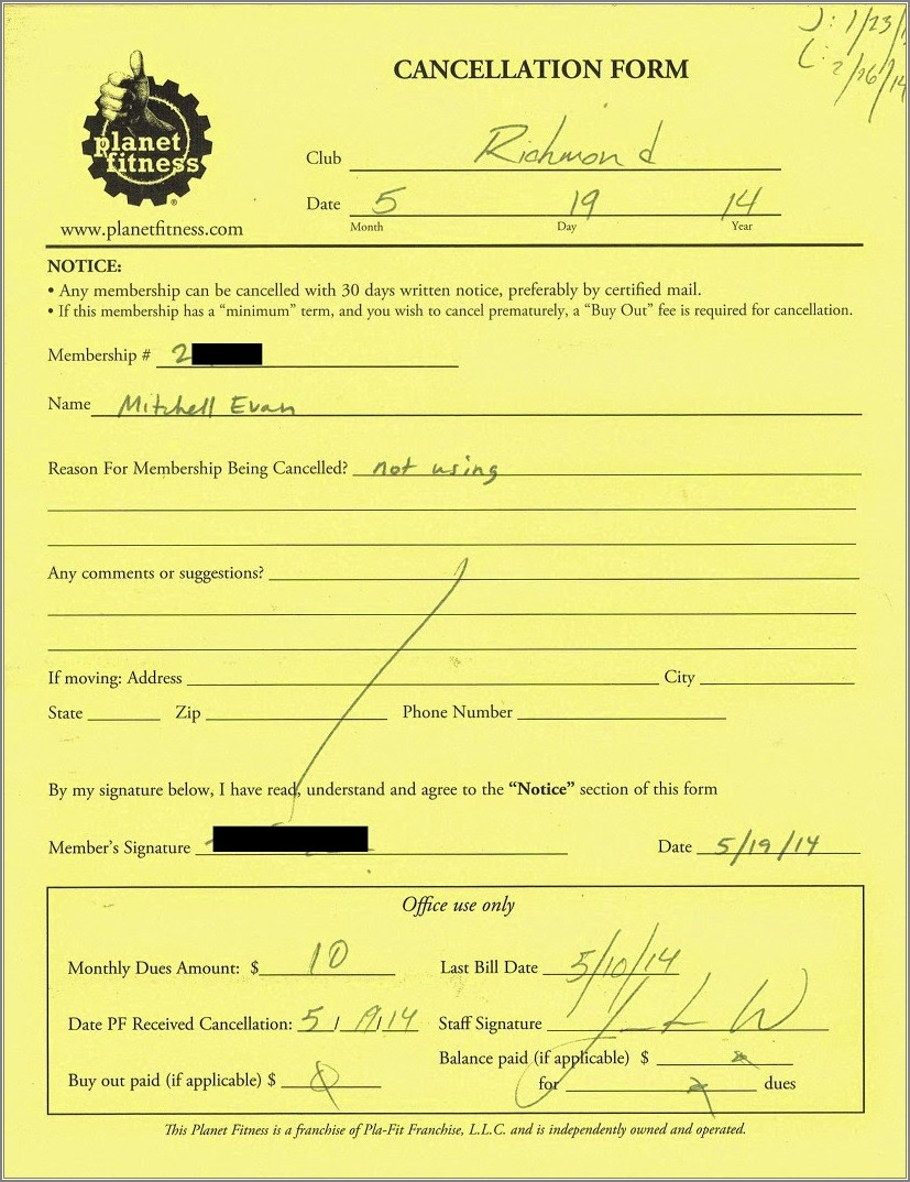 Planet Fitness Cancellation Form Letter