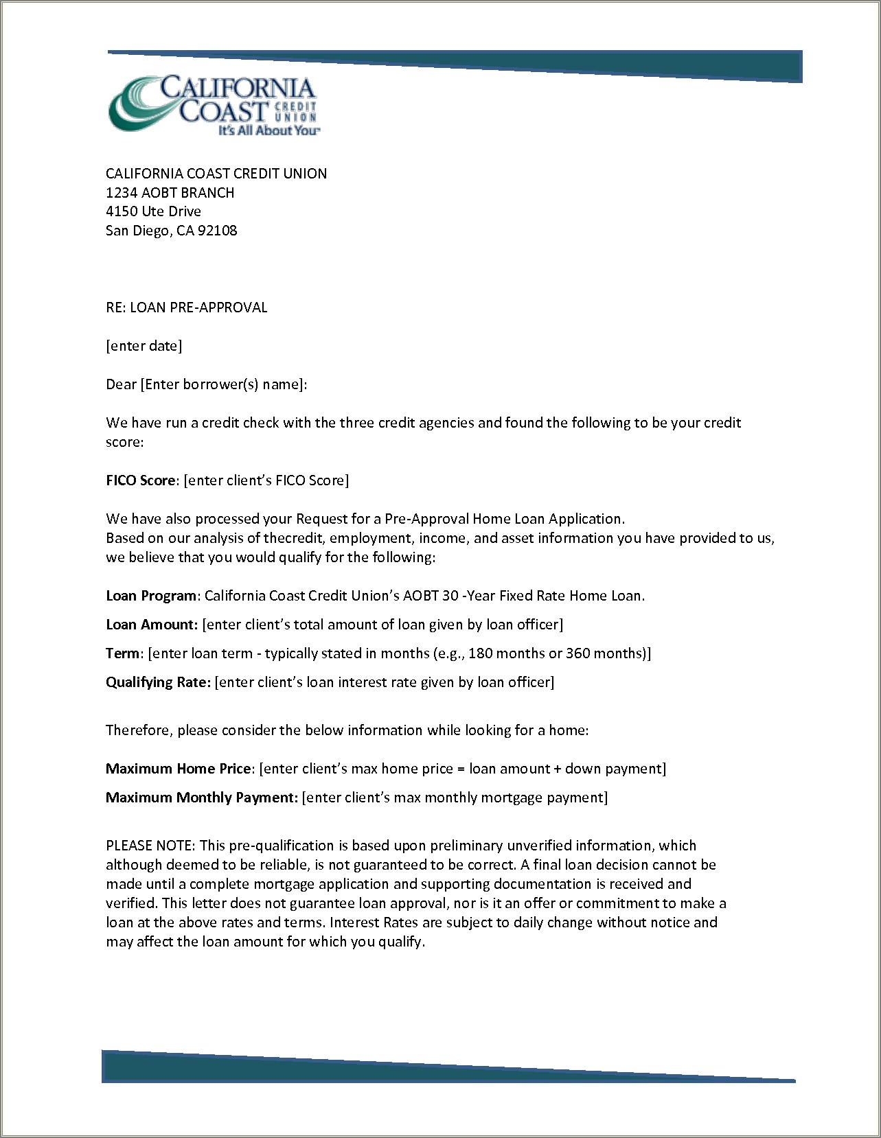 Prequalification Cover Letter Sample