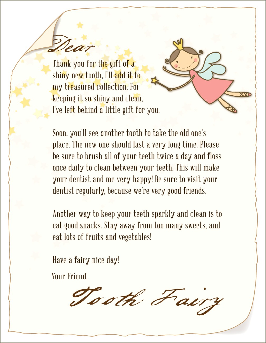 Printable Customizable Tooth Fairy Letter