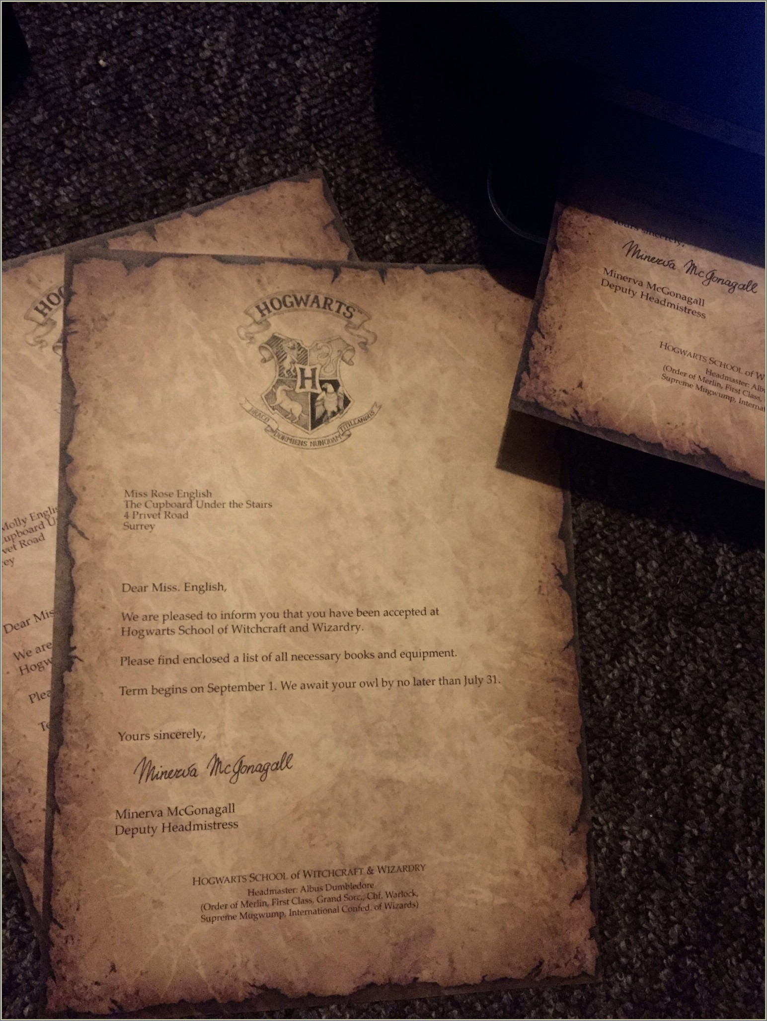 Printable Harry Potter Letter Paper
