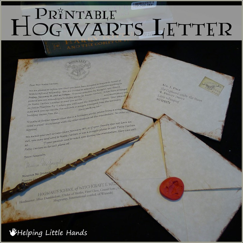 Printable Harry Potter Letter