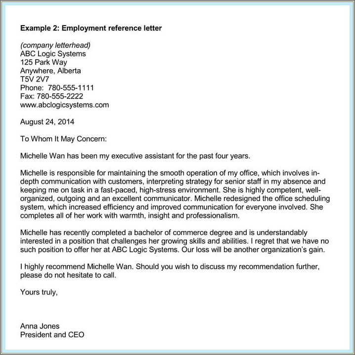 Recommendation Letter For Administrative Assistant Sample