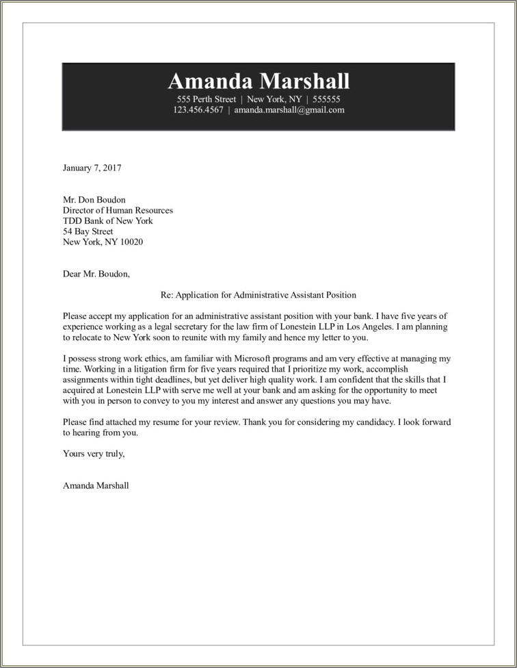 Sample Cover Letter For Office Assistant Position