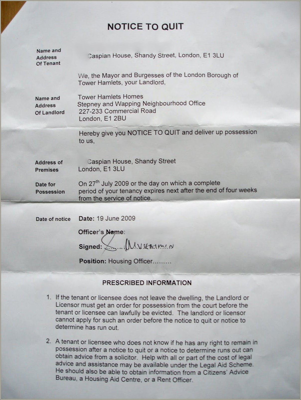 Sample Eviction Letter For Squatters
