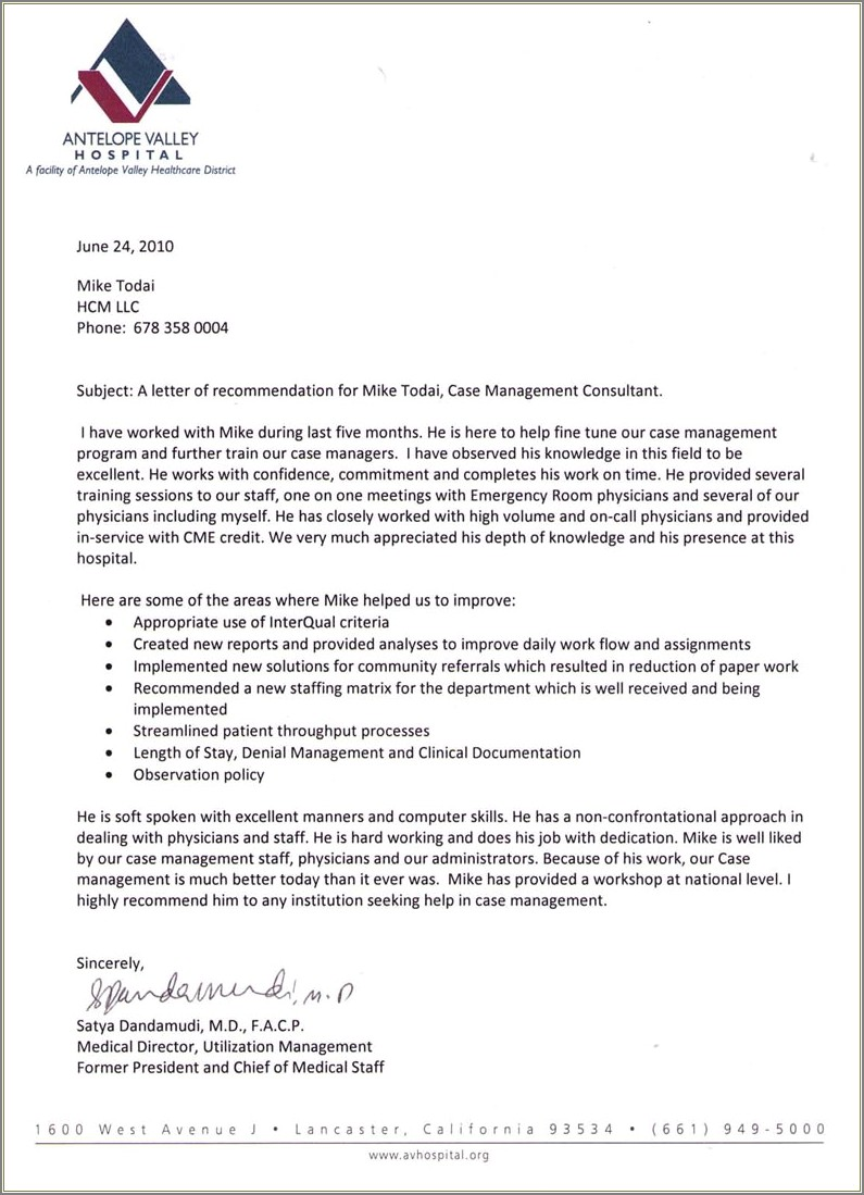 Sample Letter Of Recommendation For Physician Colleague
