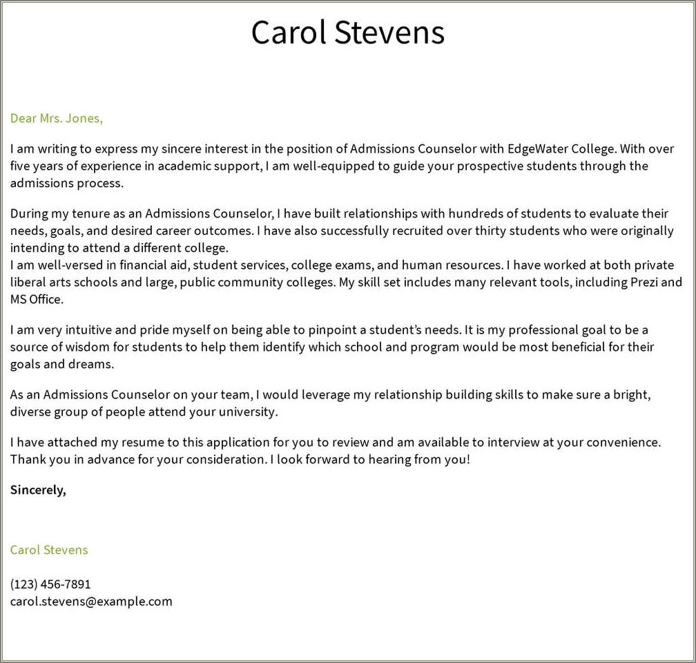 School Counselor Resume Cover Letter