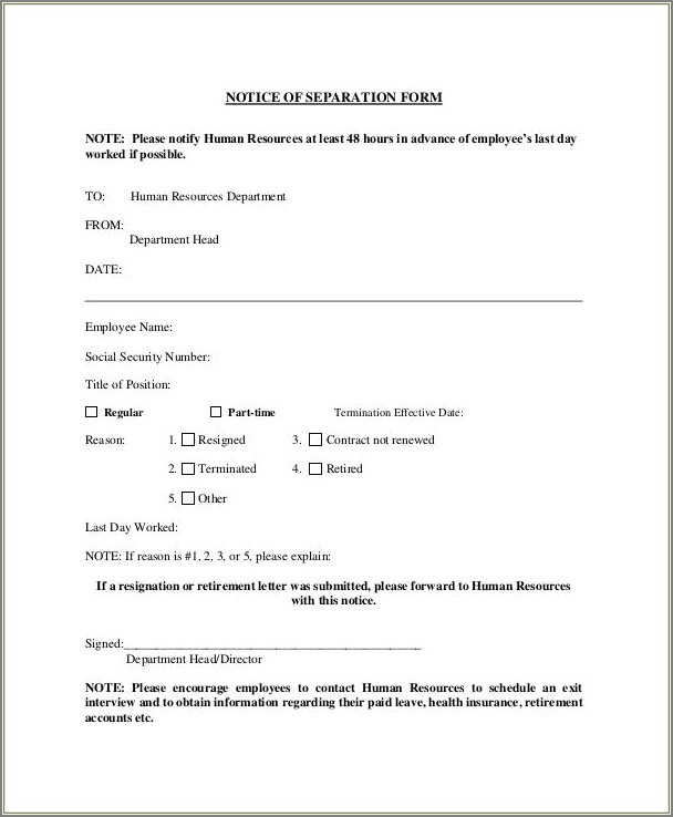 Separation Letter Template From Employer