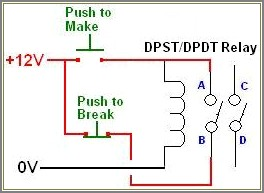 Simple Latching Relay Circuit Diagram