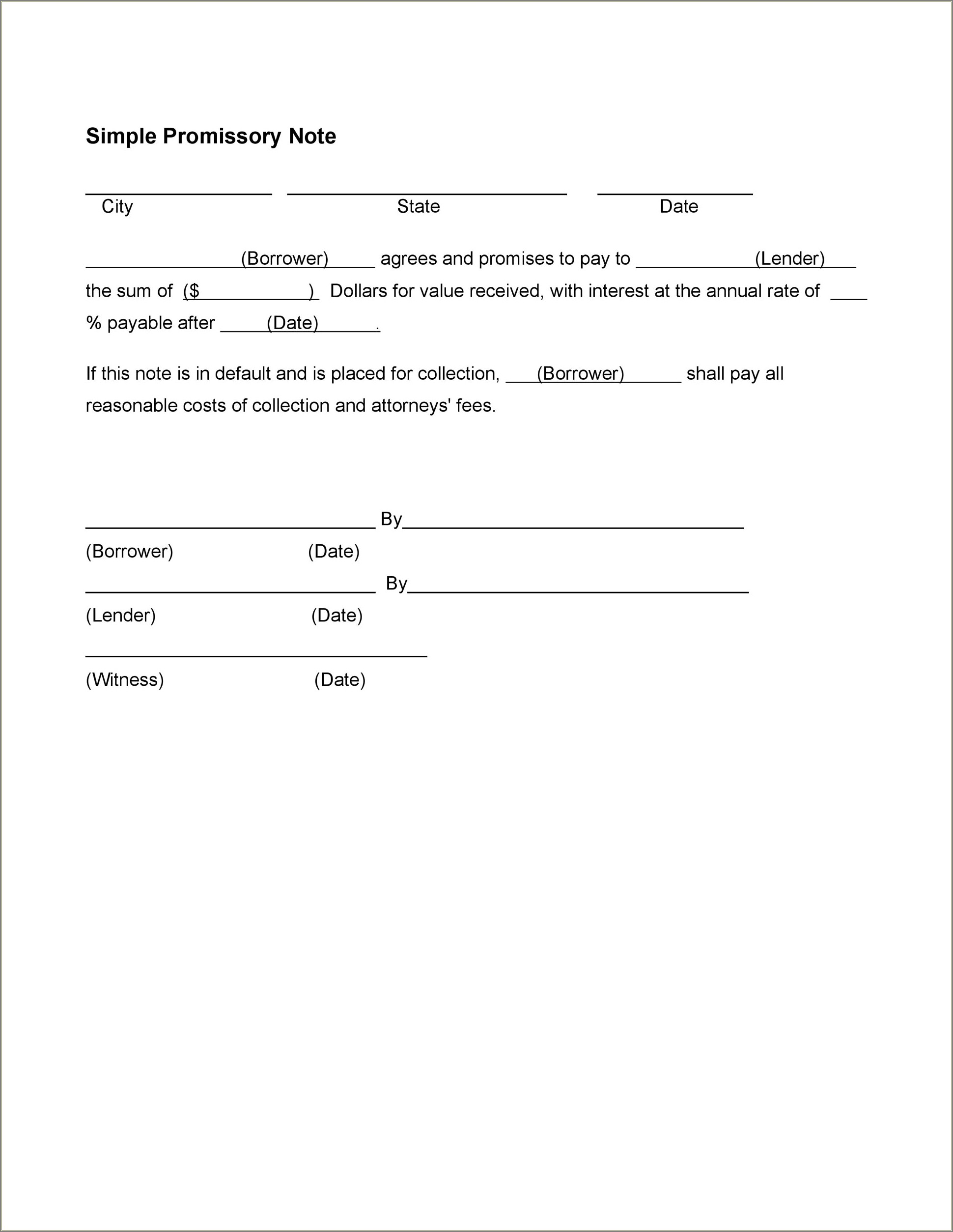 Simple Promissory Note Sample Letter Word