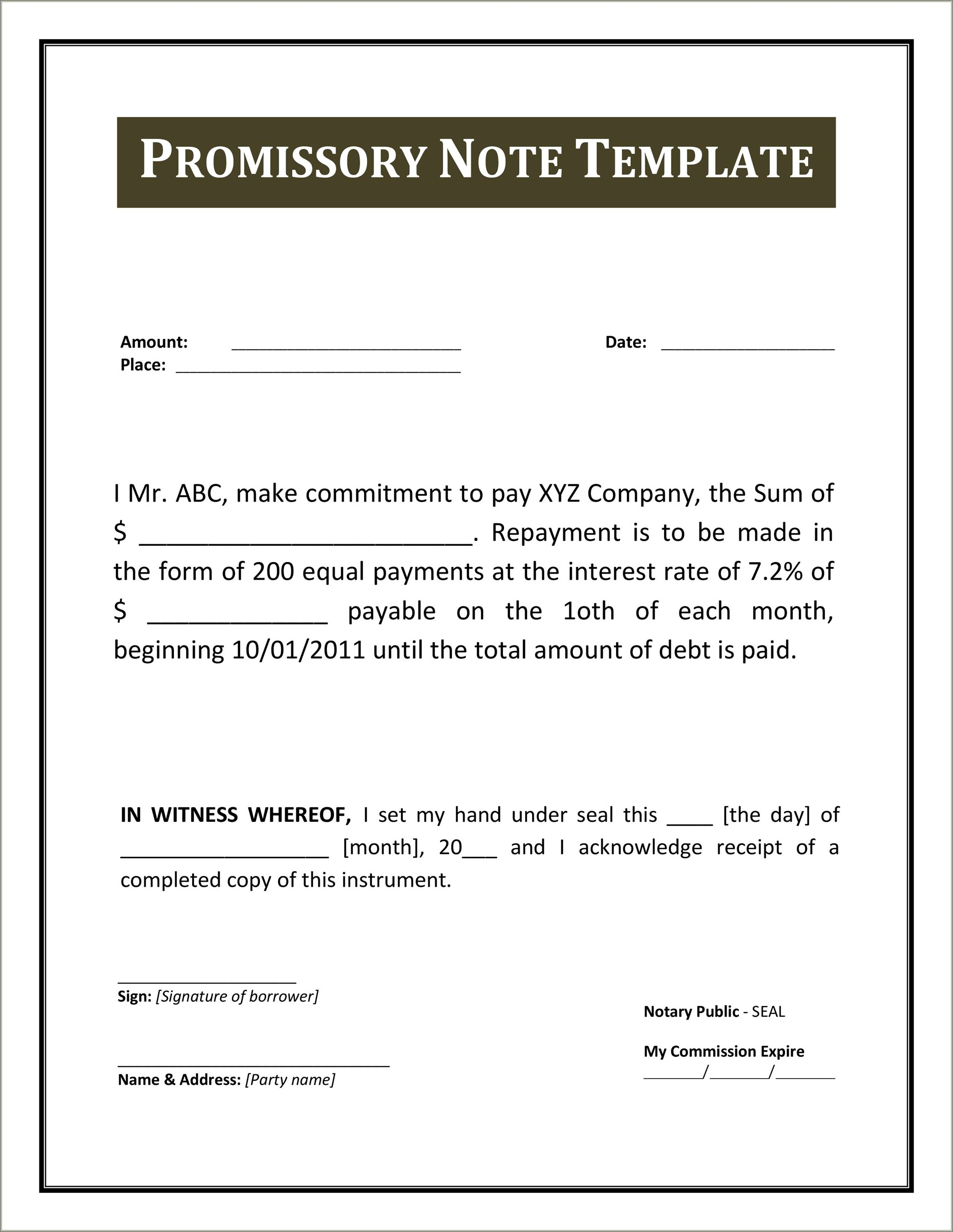 Simple Promissory Note Sample Letter