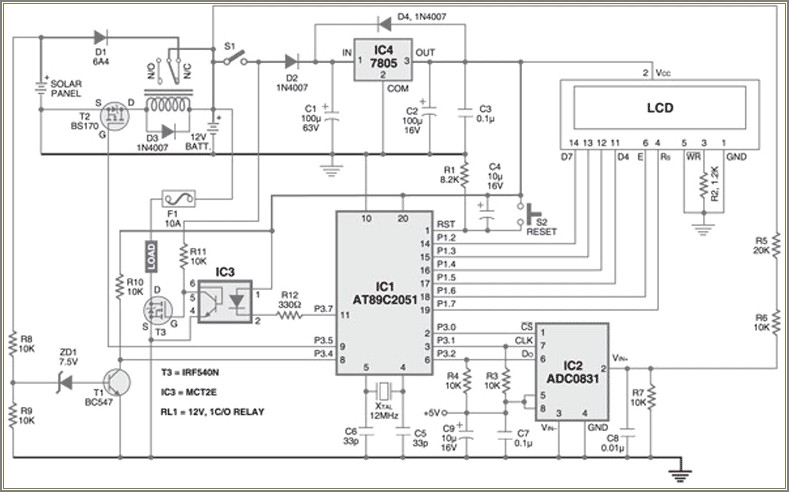 Simple Solar Charge Controller Circuit Diagram