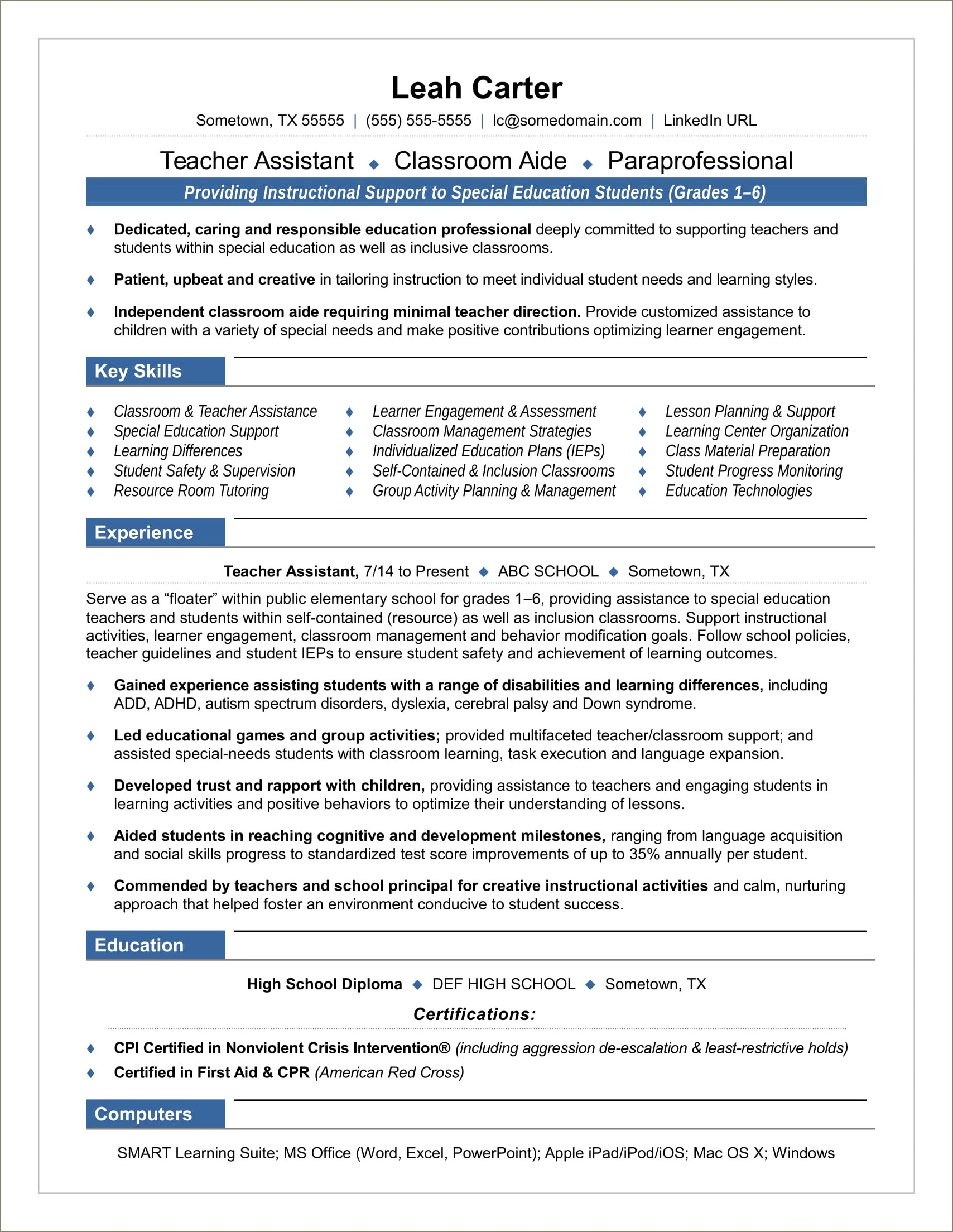 Teacher Aide Cover Letter No Experience Australia