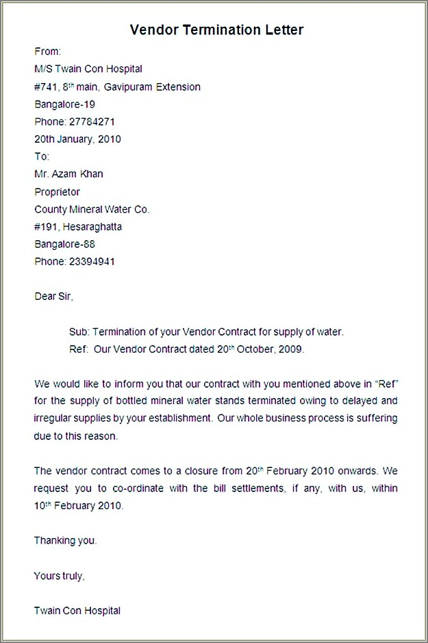 Termination Of Services Letter To Vendor