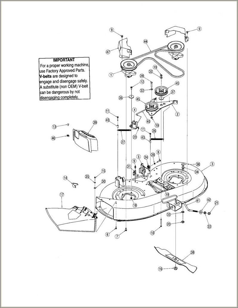 Troy Bilt Pony Riding Mower Deck Diagram