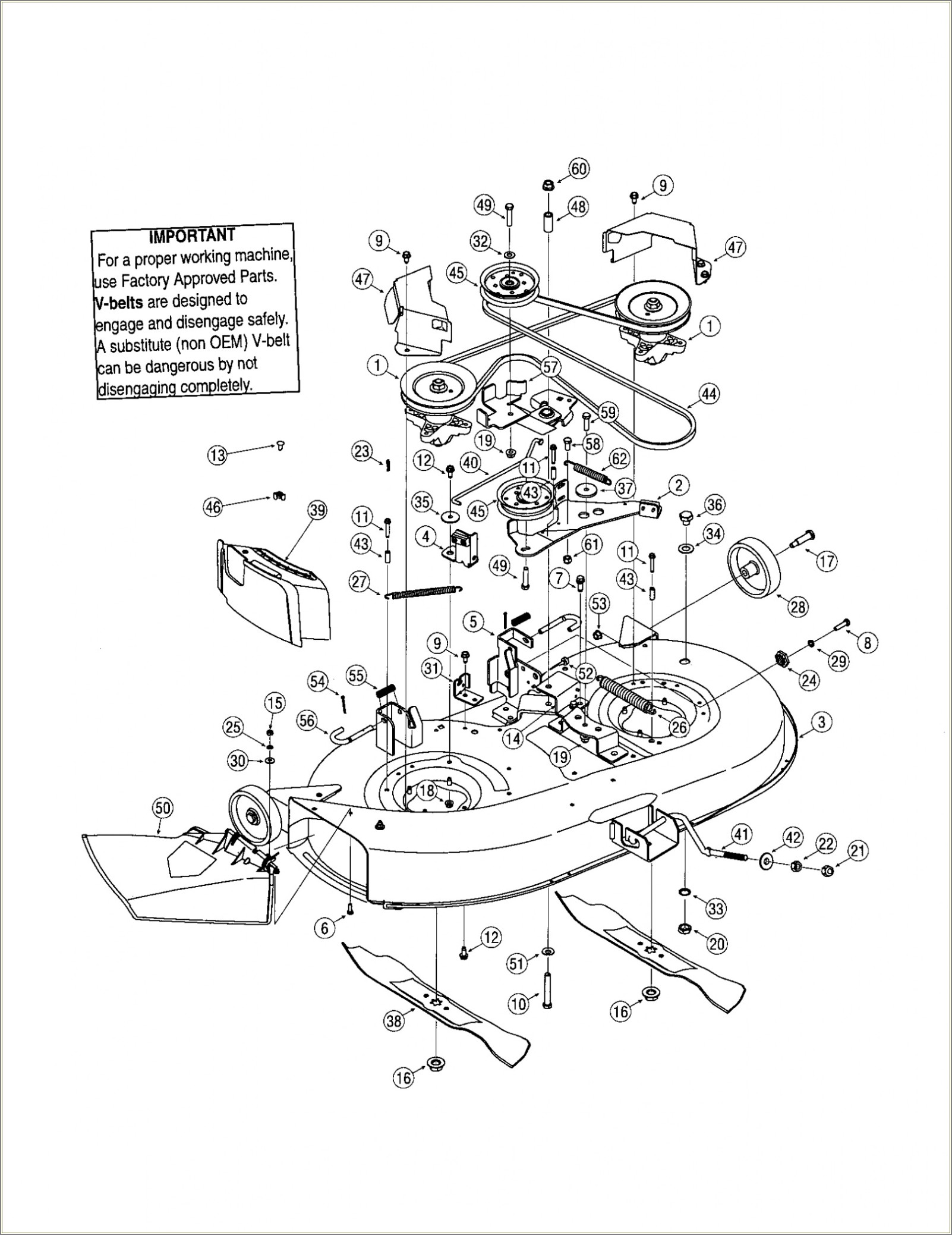 Troy Bilt Riding Mower Deck Diagram