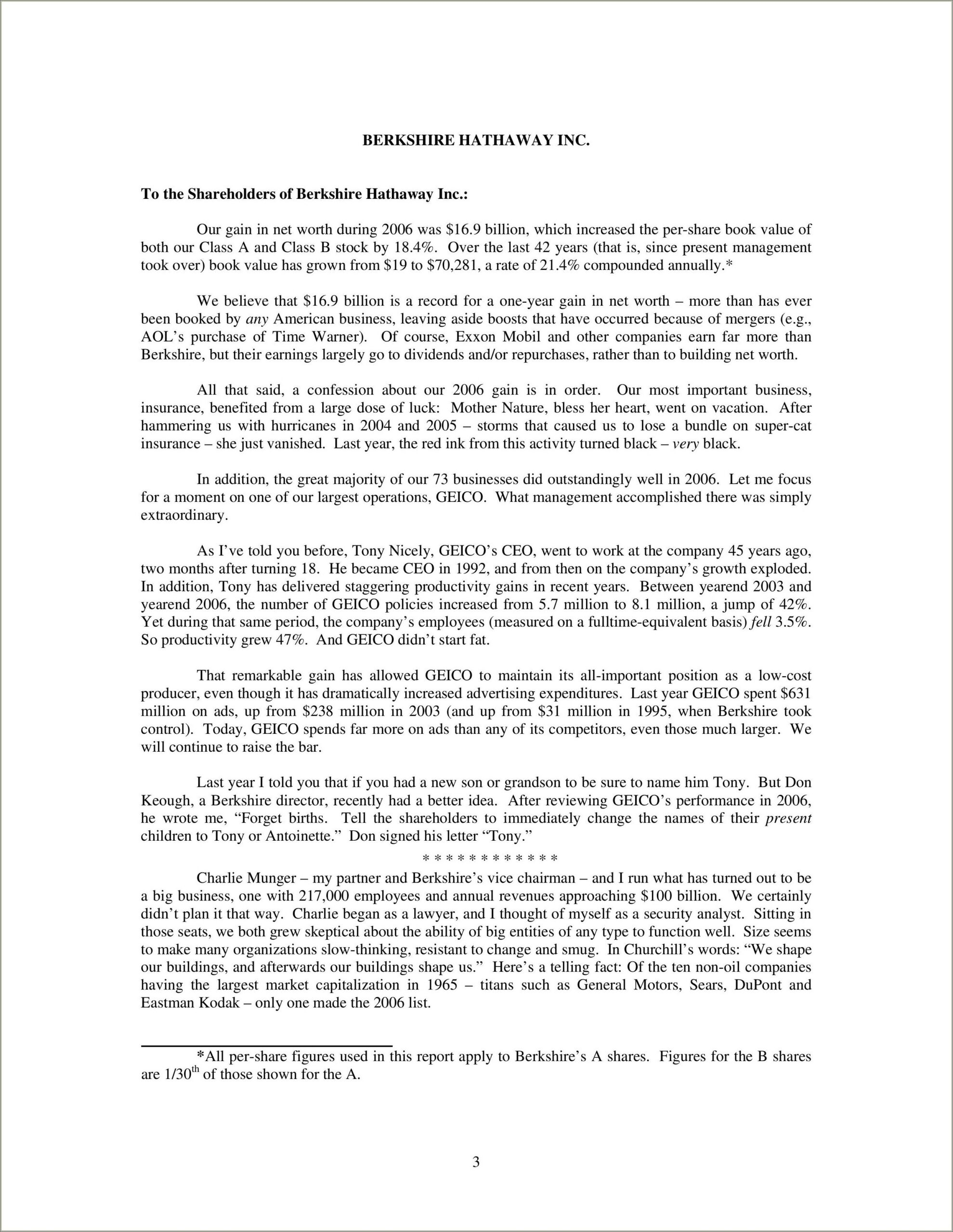 Warren Buffett Letter To Shareholders Pdf