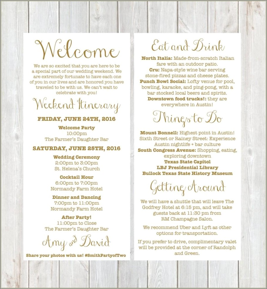 Wedding Welcome Bag Letter Template Free