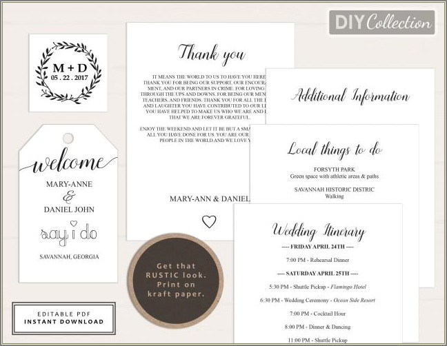 Wedding Welcome Bag Letter Template