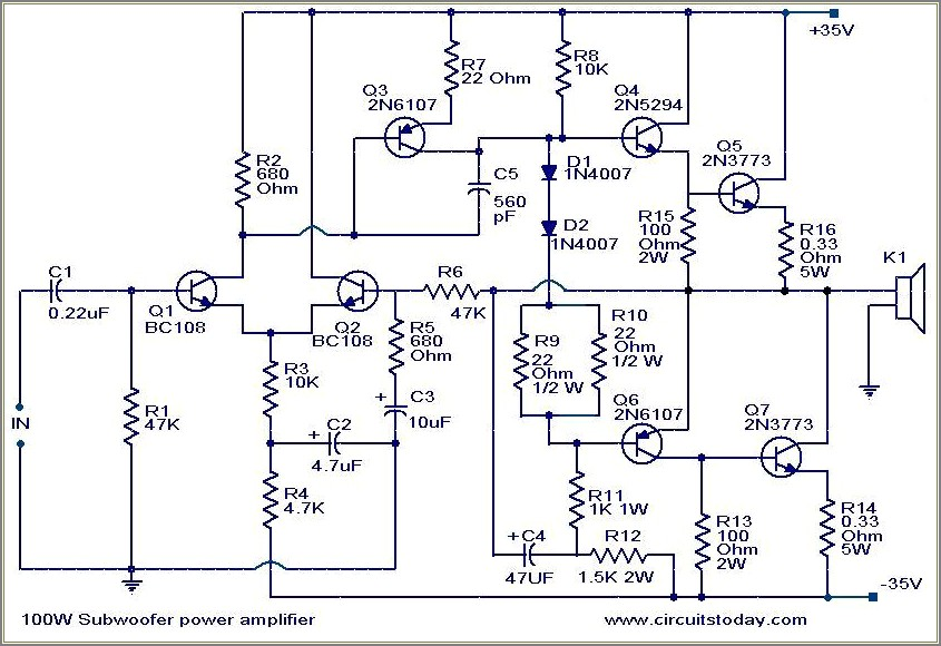 Woofer Subwoofer Crossover Circuit Diagram